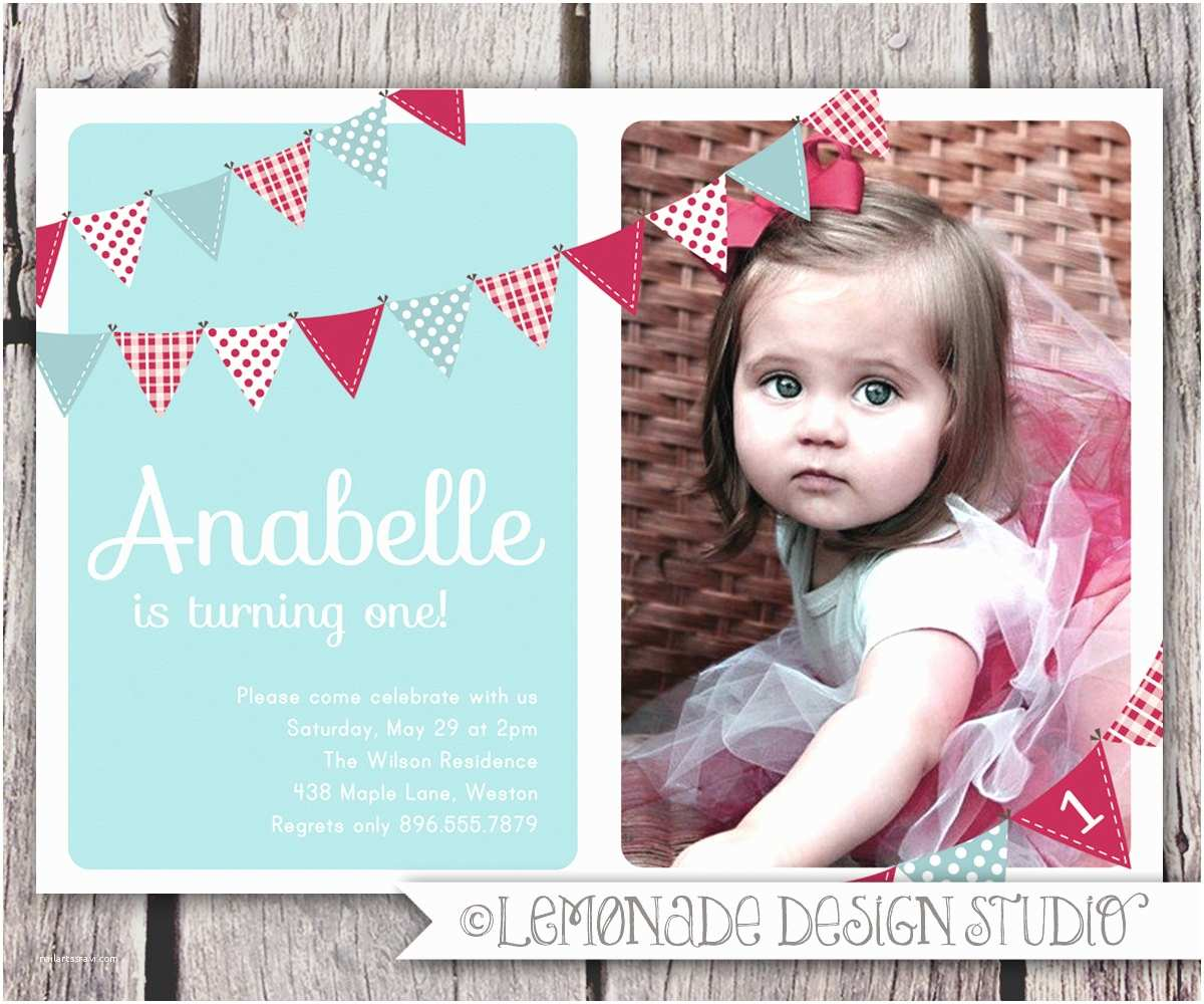 first birthday invitation bunting flags