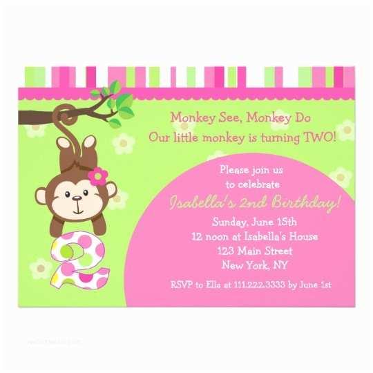 2nd Birthday Party Invitations Monkey 2nd Birthday Party Invitations