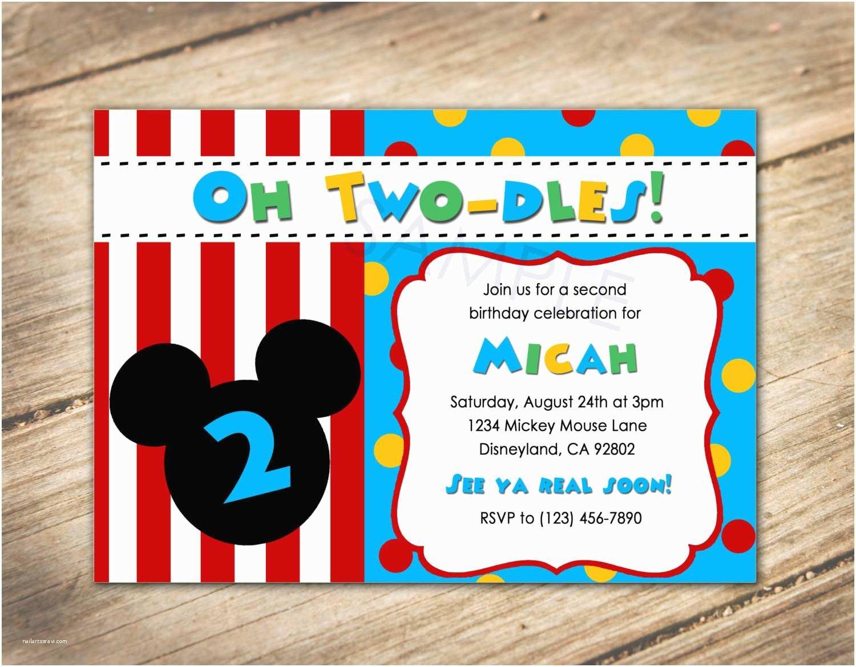 2nd Birthday Party Invitations Oh Two Dles 2nd Birthday Mickey Disney theme Invitation