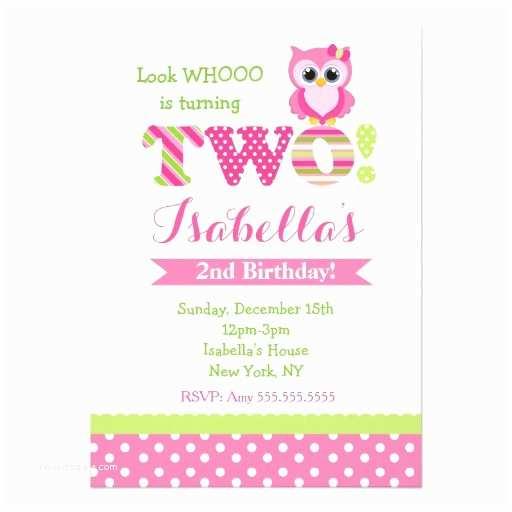 2nd Birthday Party Invitations Owl 2nd Birthday Party Invitations
