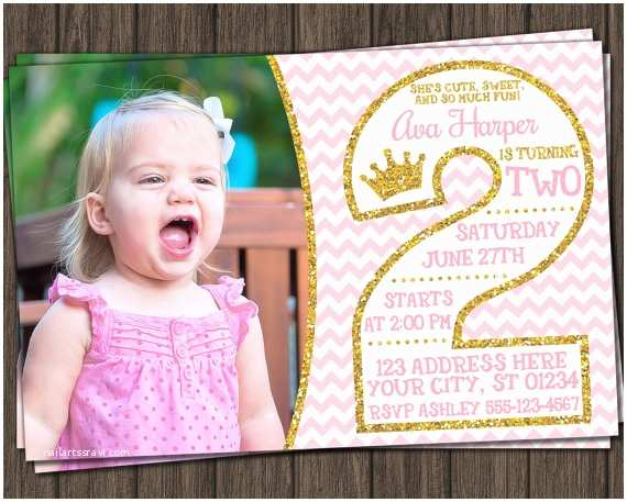 2nd Birthday Party Invitations Pink and Gold 2nd Birthday Invitations Second by Puggyprints