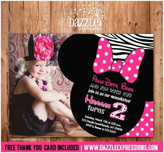 2nd Birthday Party Invitations Printable Minnie Mouse Birthday Invitation Girls First