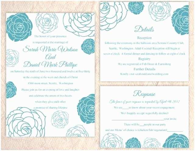 3 In 1 Wedding Invitations Diy Wedding Invitation Template Set Editable Word File