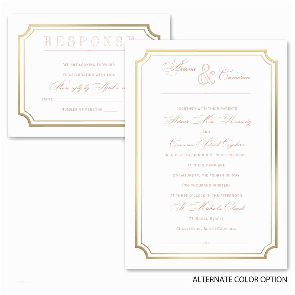 3 In 1 Wedding Invitations Gold Frame Invitation with Free Respond Postcard
