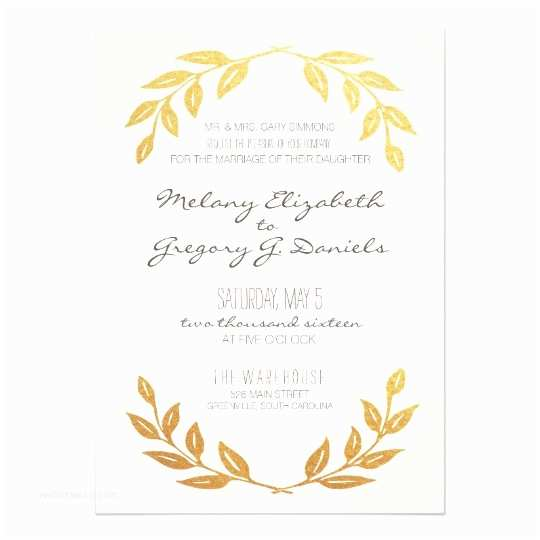 3 In 1 Wedding Invitations Laurel Wreath Gold Leaf Wedding Invitation