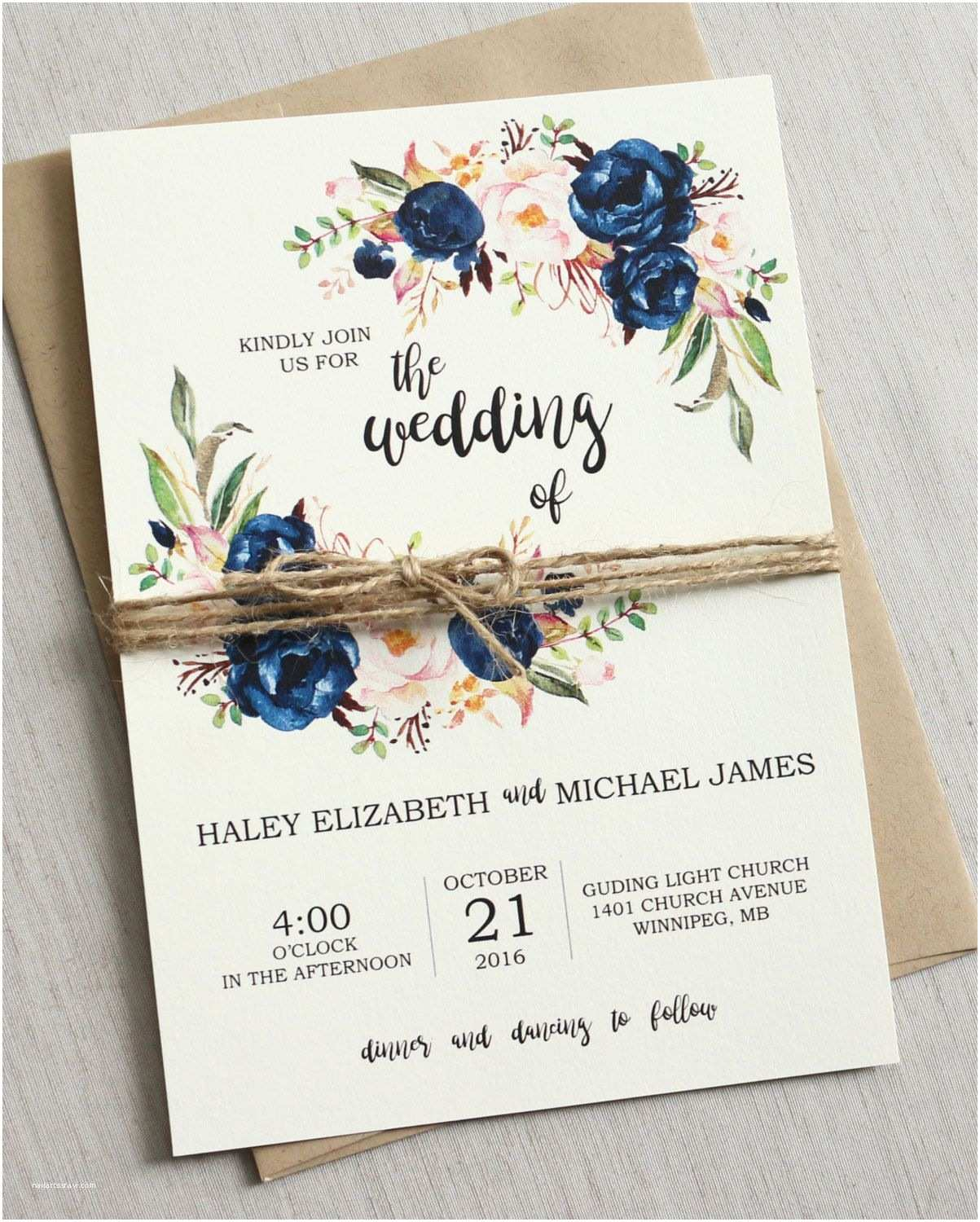 3 In 1 Wedding Invitations Rustic Navy Wedding Invitation Suite Modern Bohemian