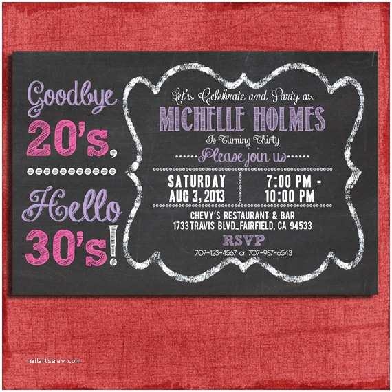 30th Birthday Invitation 30th 40th 50th Chalkboard Style Birthday Invitation 4x6