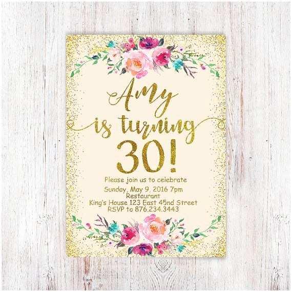 30th Birthday Invitation 30th Birthday Invitations Birthday Floral by