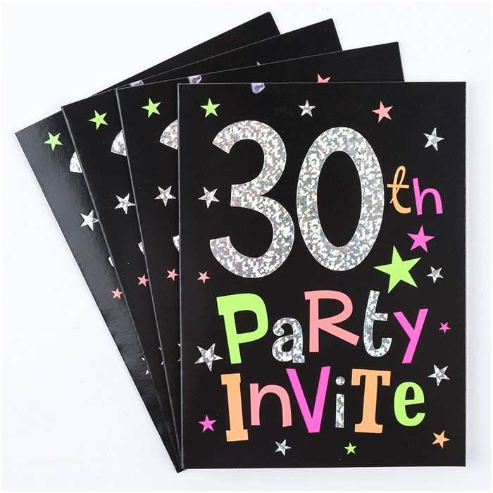 30th Birthday Invitation 30th Birthday Party Invitation Cards Pack 10