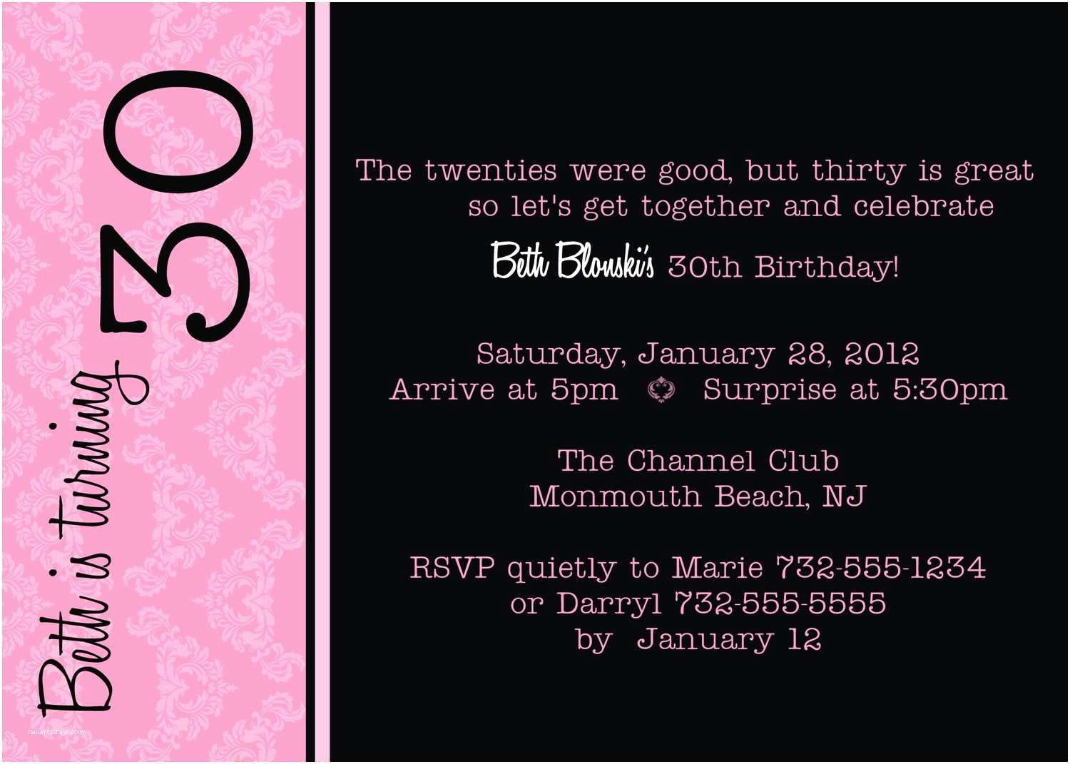 30th Birthday Invitation Wording Invitations Card Review