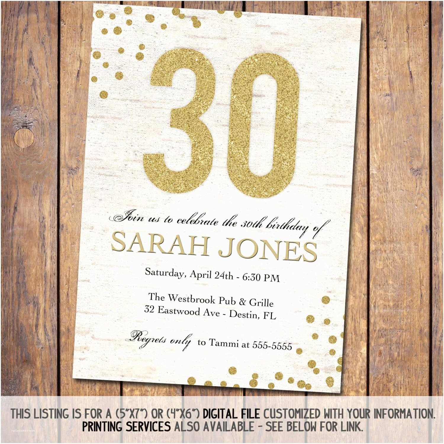 30th Birthday Invitations Adult Birthday Invitation 30th Birthday Invitations