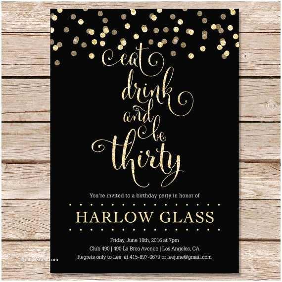 30th Birthday Invitations for Her 30th Birthday Invitation Glitter Invitation Printable