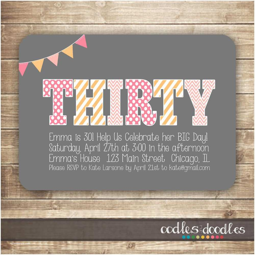 30th Birthday Invitations For Her Invitation Thirty 40th 50th