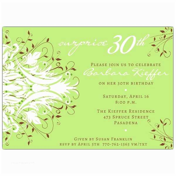 30th Birthday Invitations for Her andromeda Green Surprise 30th Birthday Invitations