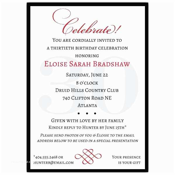30th Birthday Invitations for Her Classic 30th Birthday Celebrate Party Invitations