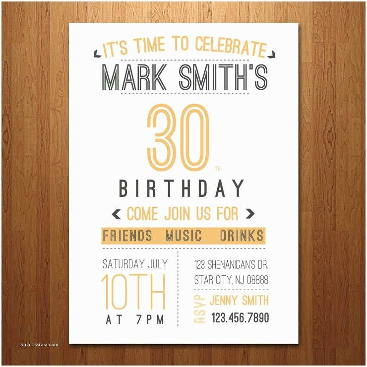 30th Birthday Invitations For Him 21st 40th 50th 60th Surprise Party