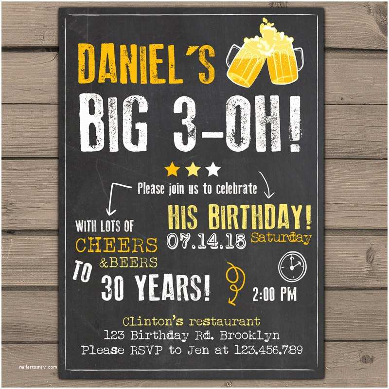 30th Birthday Invitations for Him 30th Birthday Invitation Surprise Party Cheers and Beers