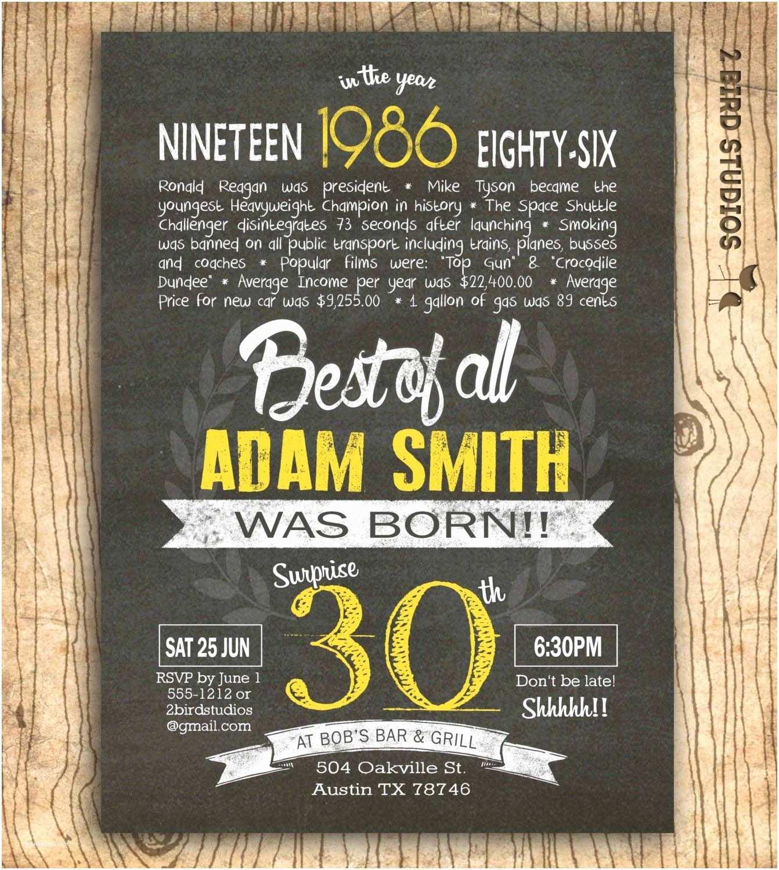 30th Birthday Invitations for Him 30th Birthday Invitations Wording Funny