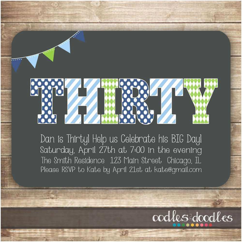 30th Birthday Invitations For Him 40th Party New