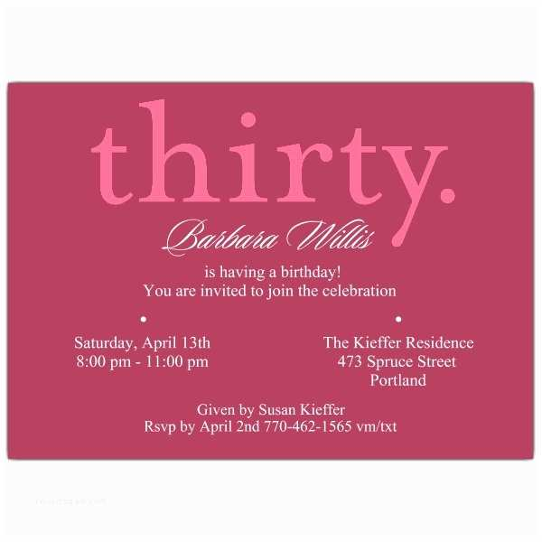 30th Birthday Invitations For Him A Pink