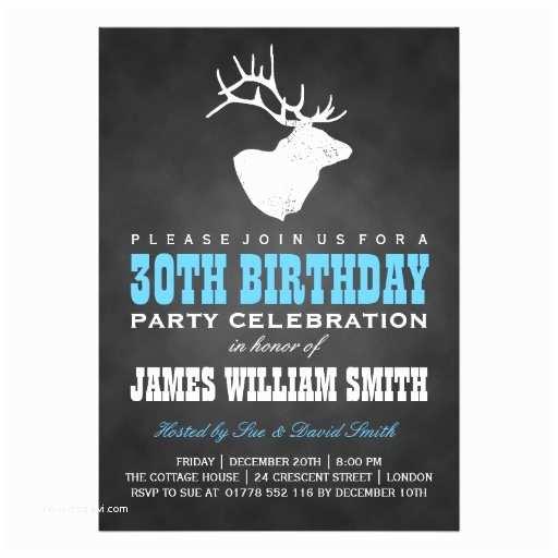 30th Birthday Invitations for Him Chalkboard 30th Birthday Party Deer Black Blue