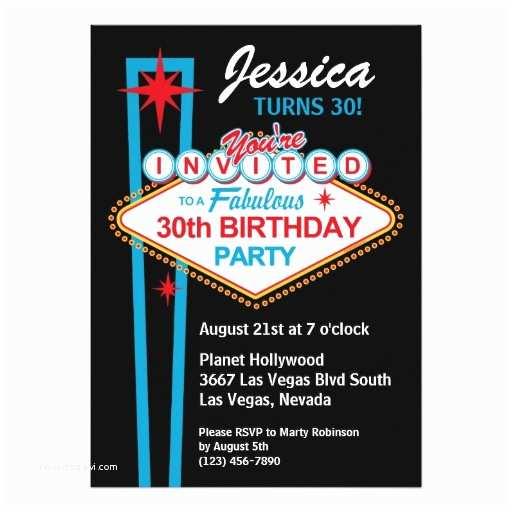 30th Birthday Invitations for Him Las Vegas 30th Birthday Party Invitation