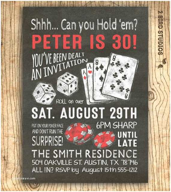 30th Birthday Invitations For Him Surprise Invitation Casino Theme Party