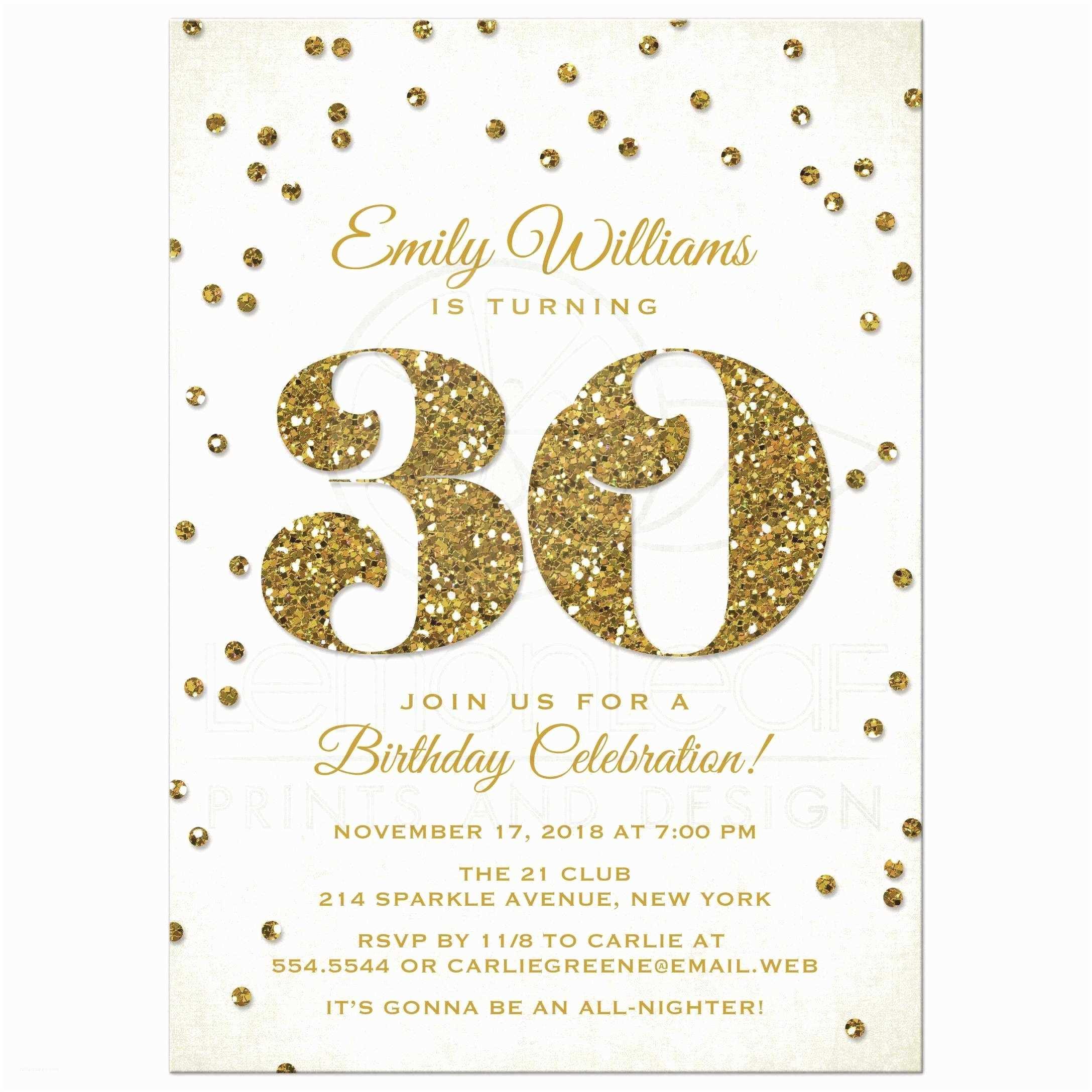 30th Birthday Party Invitations 30th Birthday Party Invitations Gold Glitter Look Confetti