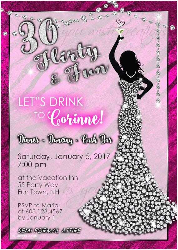 30th Birthday Party Invitations Woman By
