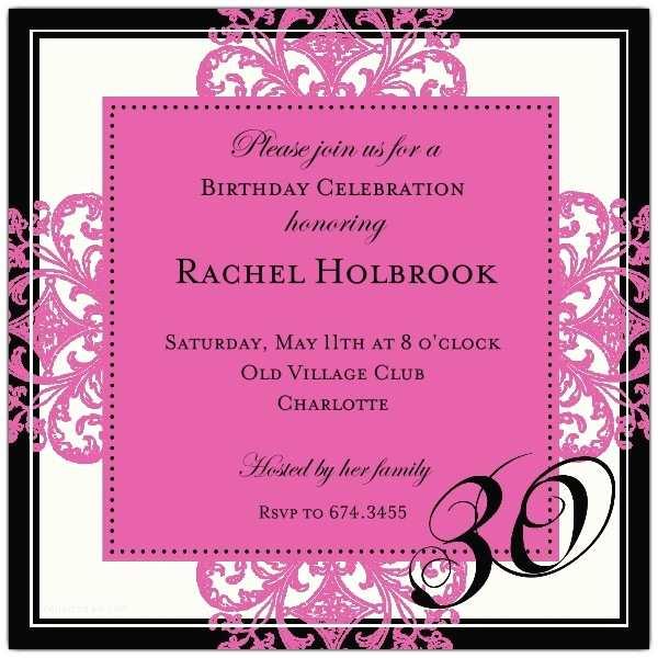 30th Birthday Party Invitations Decorative Square Border Pink 30th Birthday Invitations