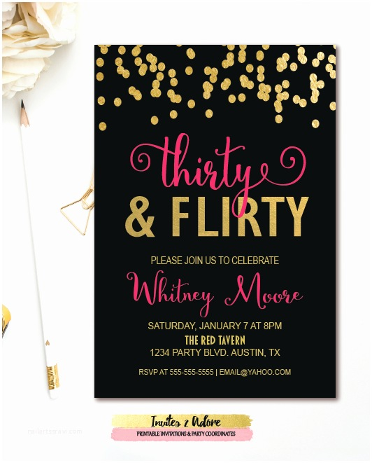 30th Birthday Party Invitations Thirty & Flirty 30th Birthday Party Invitation Black