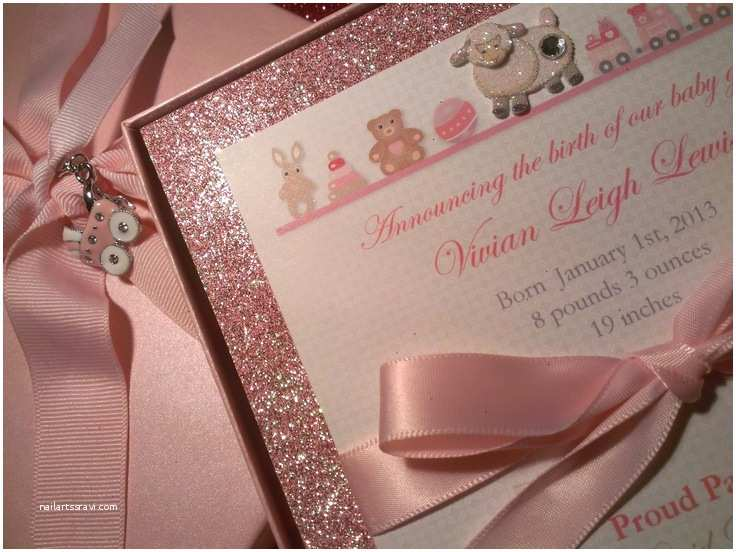 3d Baby Shower Invitations Baby Girl Announcement Es with Beautiful Sparkle Pink