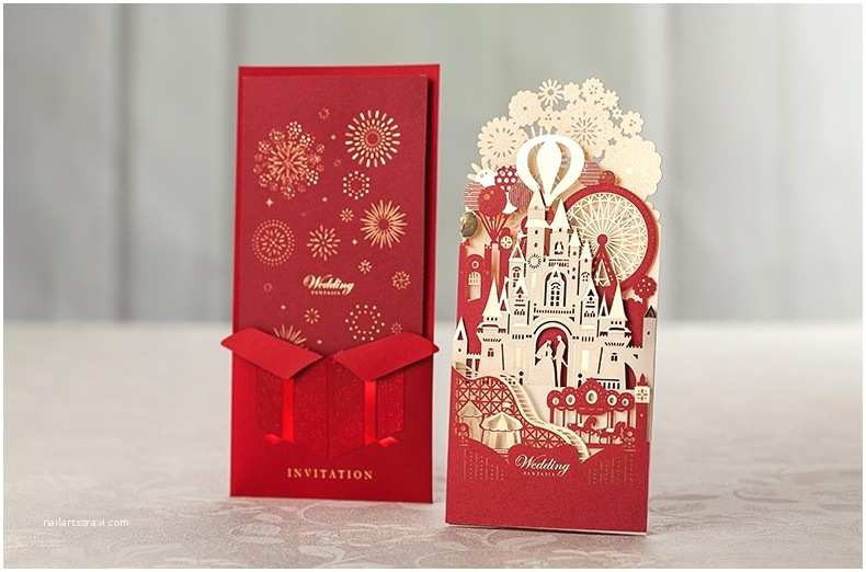3d Wedding Invitations 2015 New Gold Red 3d Castle Wedding Invitations Laser Cut
