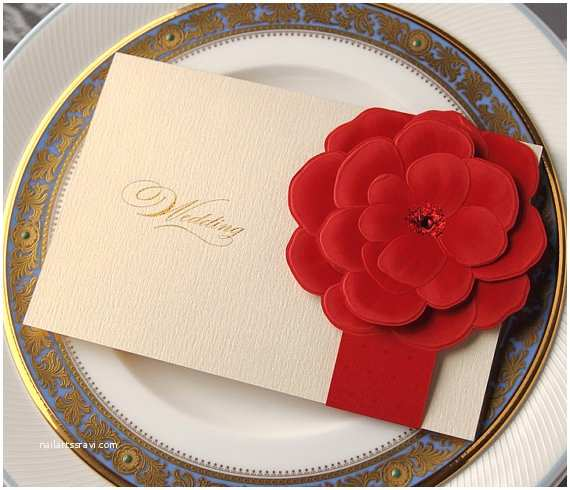 3d Wedding Invitations 3d Red Flower Invitations Floral Wedding by Wishmadecards