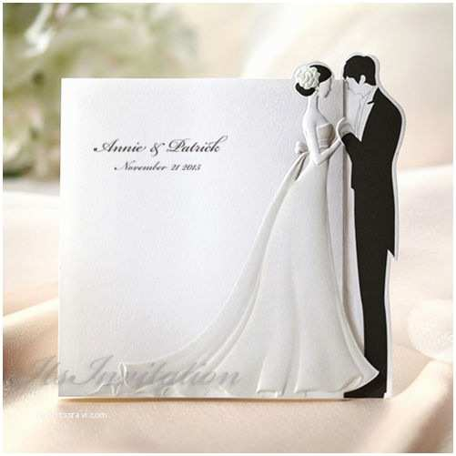3d Wedding Invitations White 3d Bride And Groom Wedding Invitations Cards