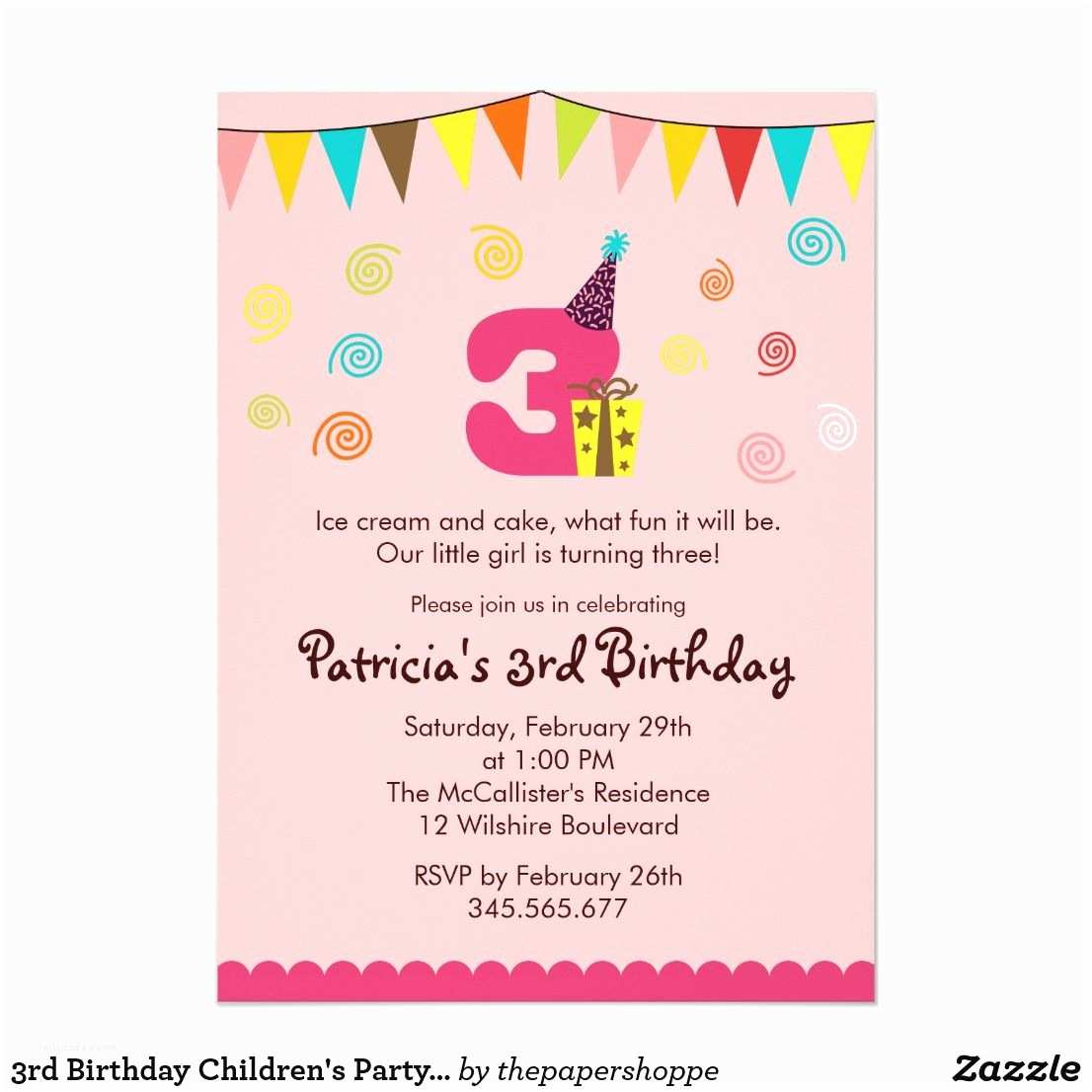3rd Birthday Invitation Wording Children S Party