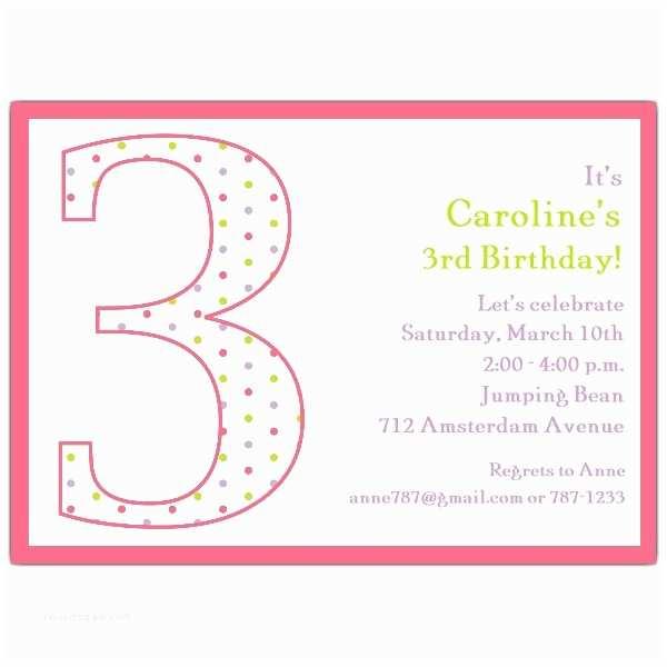 3rd Birthday Invitation Wording 3rd Birthday Girl Dots