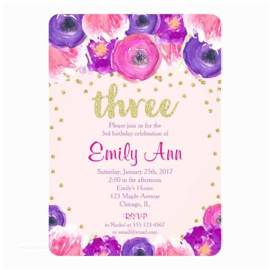 3rd Birthday Invitation Wording Girl Pink Purple Gold