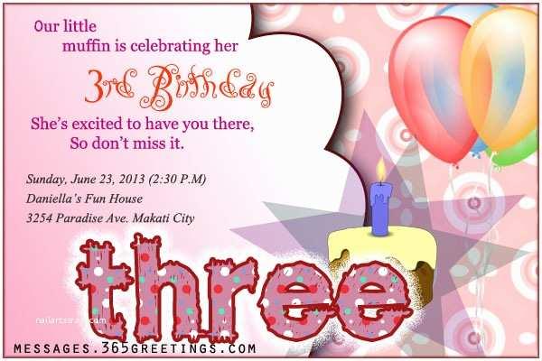 3rd Birthday Invitation Wording 3rd Birthday Invitations