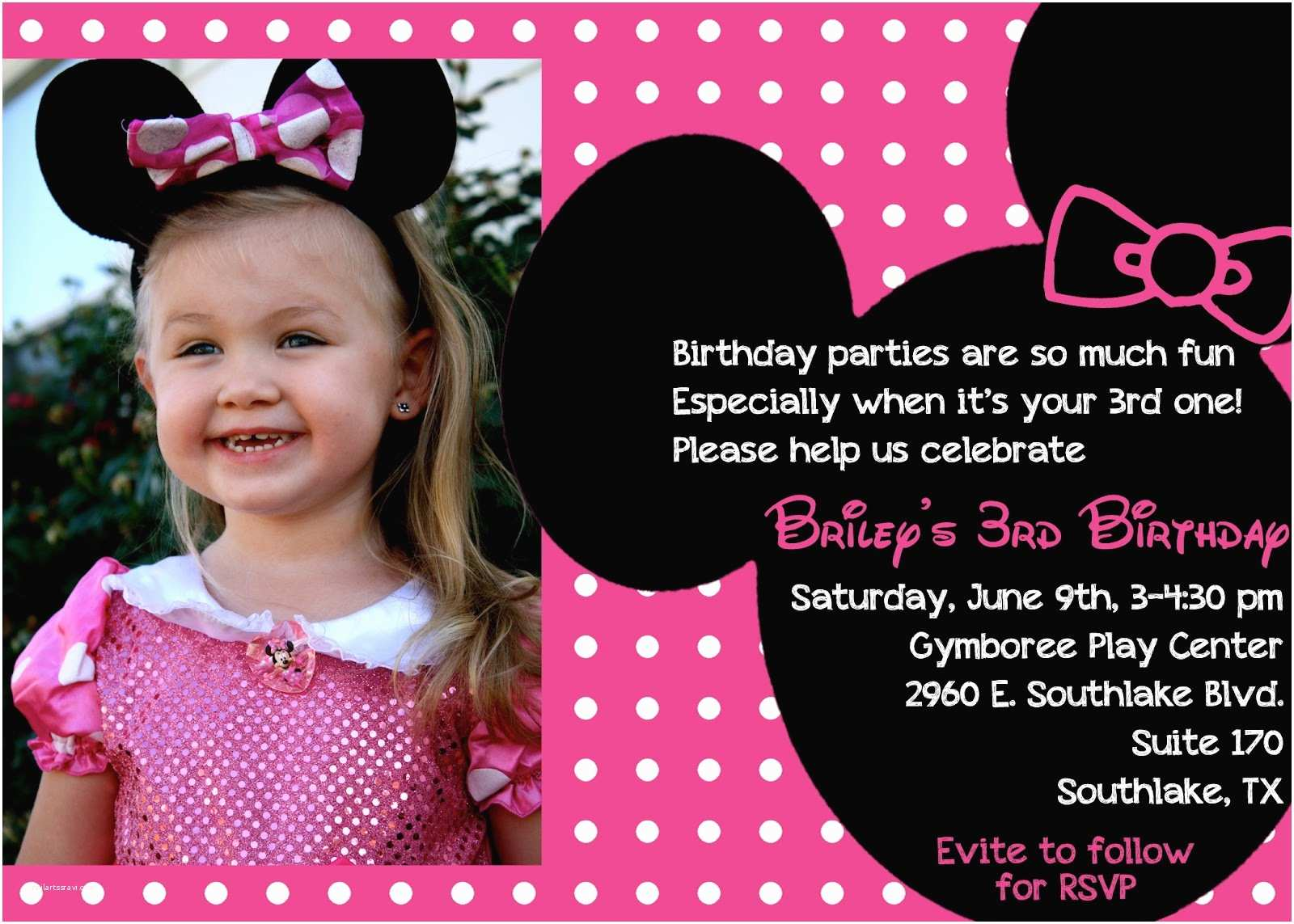 3rd Birthday Invitation Wording the Bufe Family Minnie Mouse 3rd Birthday Party