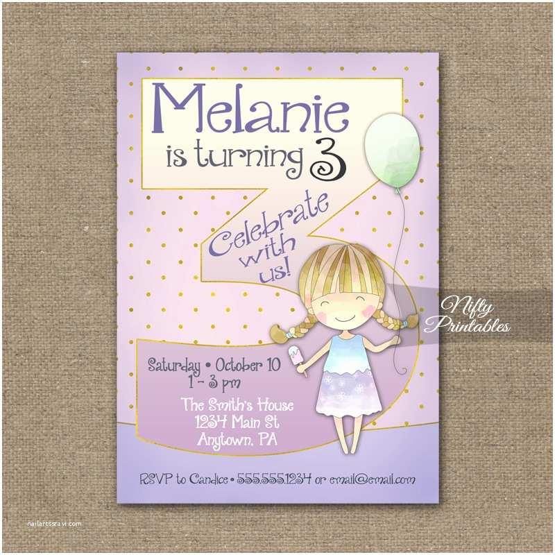 3rd Birthday Invitations 3rd Birthday Invitation Balloon Girl Birthday Invitation