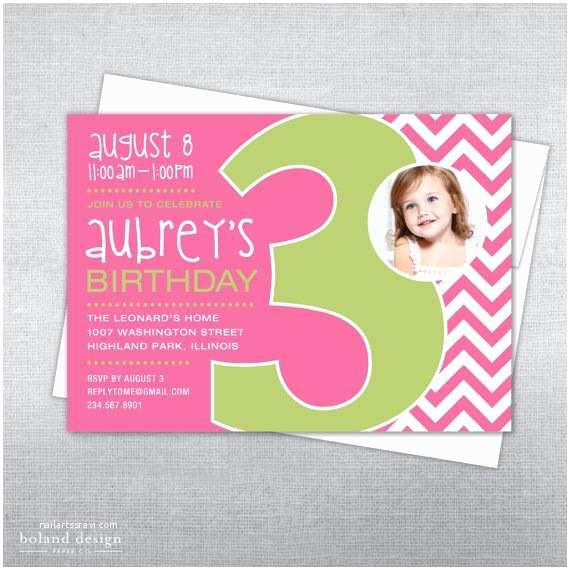 3rd Birthday Invitations 3rd Birthday Invitation Chevron Printable