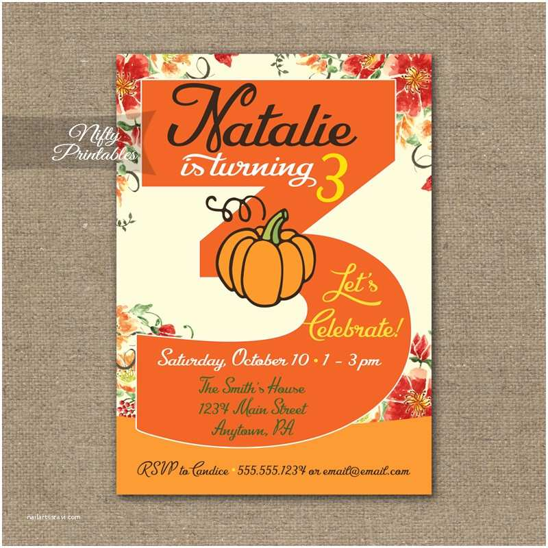 3rd Birthday Invitations 3rd Birthday Invitation Pumpkin Birthday Invitation