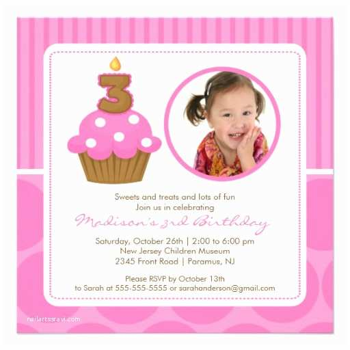 photocupcake birthday invitation 3rd birthday pink