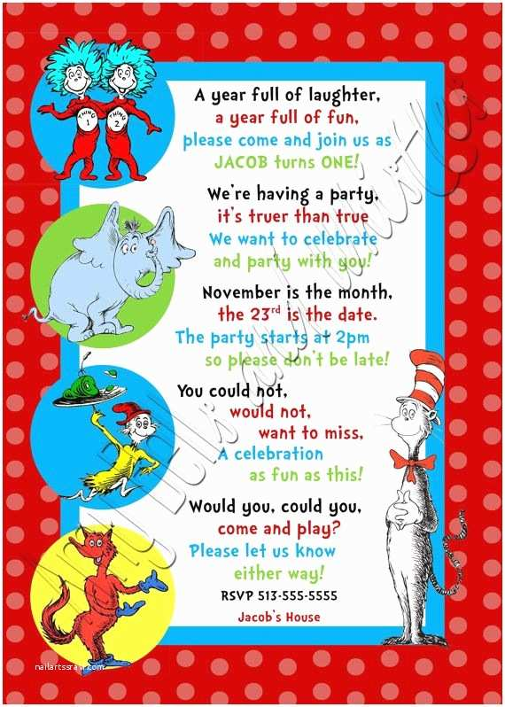 3rd Birthday Invitations Custom Personalized Dr Seuss Inspired 1st 2nd or 3rd