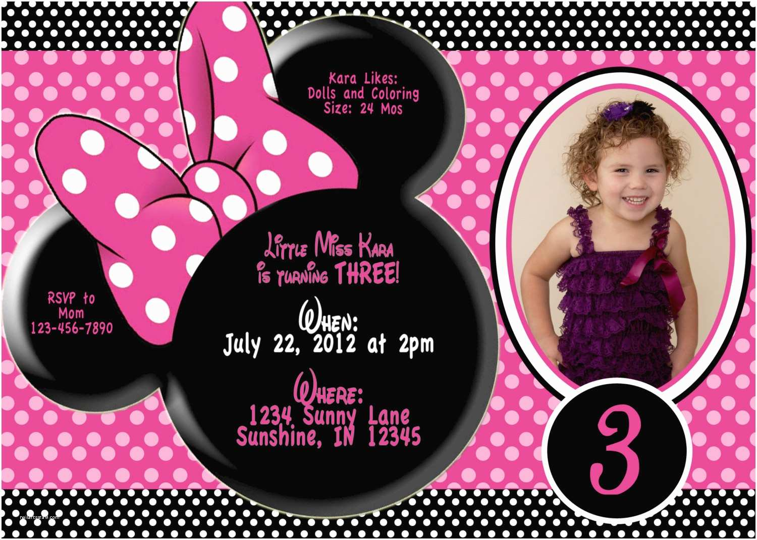 3rd Birthday Invitations Minnie Mouse Invitation Wording
