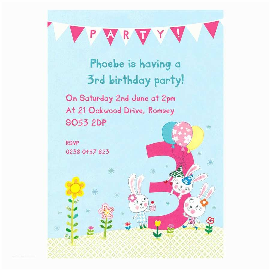 3rd Birthday Invitations Personalised Third Party By Made