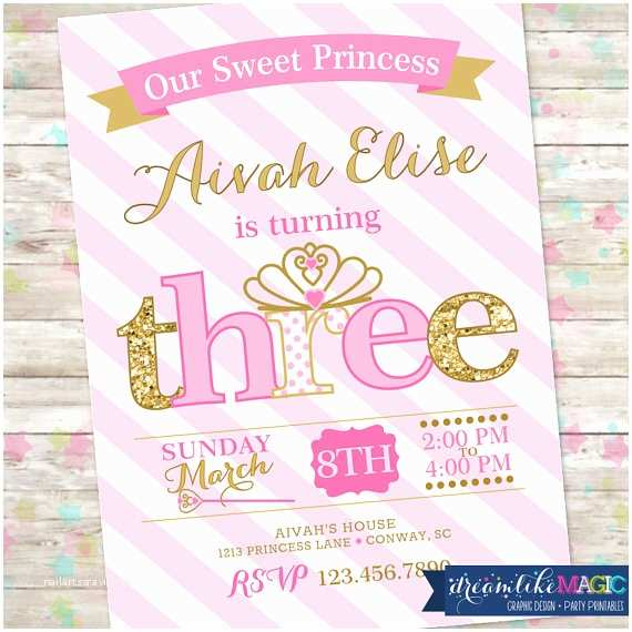 3rd Birthday Invitations Princess Birthday Invitation 3rd Birthday Party Invite Pink