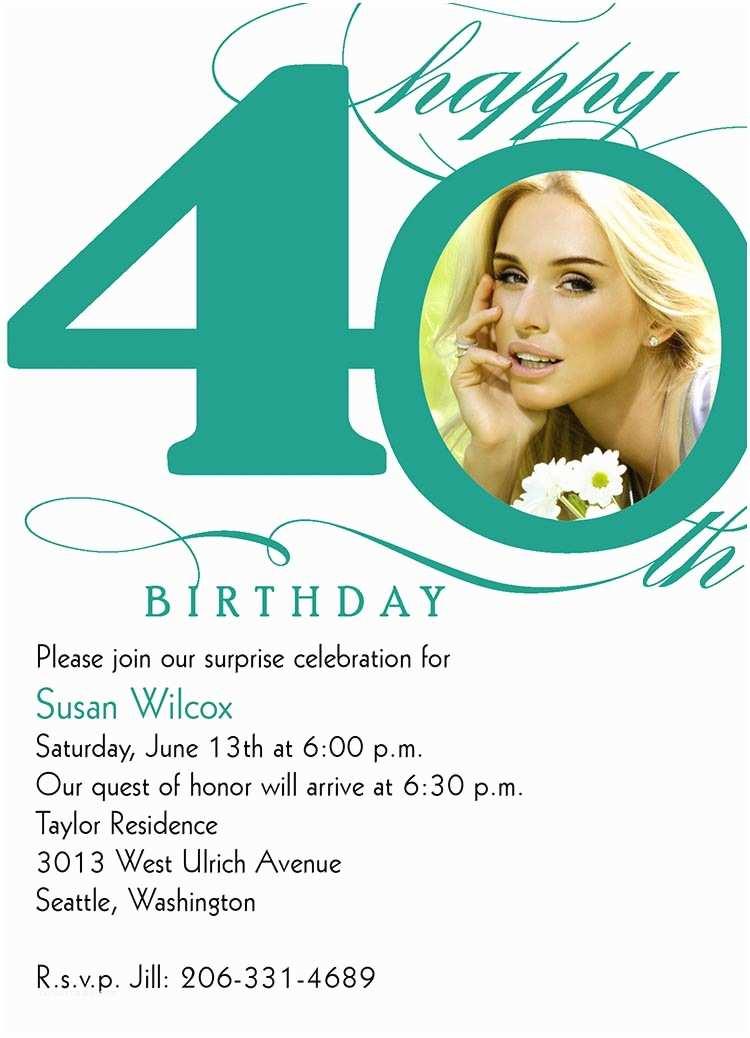 40th Birthday Invitation Wording Bagvania Free Printable