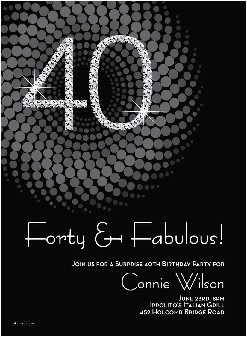40th Birthday Invitation 8 Invitations Ideas And Themes Sample